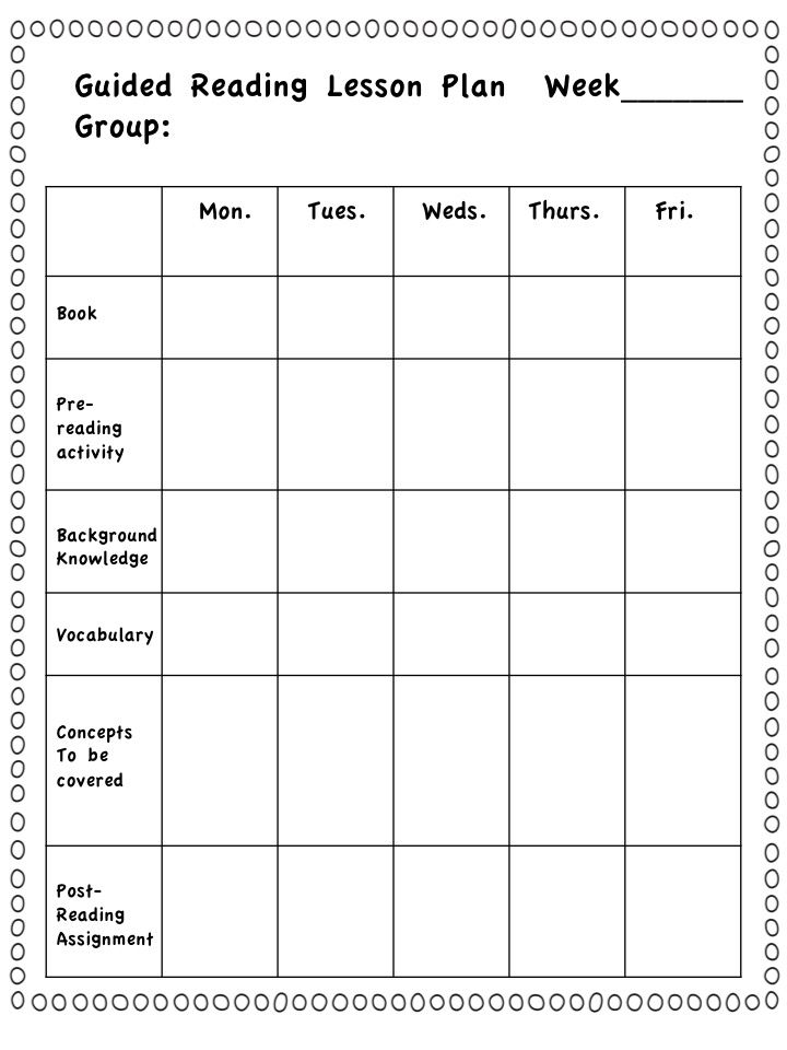 Guided reading group lesson plans first grade literacy for Day plan template for teachers