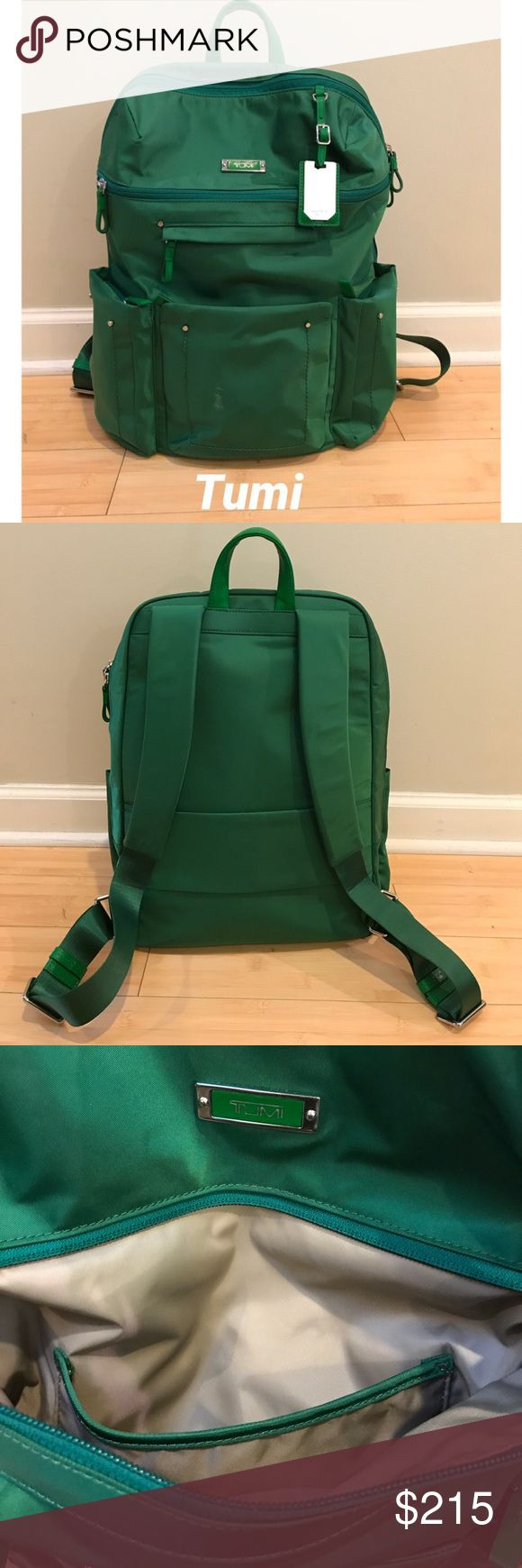 Tumi Calais Backpack Work, travel, and play backpack. Gorgeous emerald green color. Calais (or Voyageur Calais). So many pockets! Great storage. Three on front. Two main compartments with pockets within each. Laptop pocket. Strap on back to slide over luggage handle. Adjustable straps. Leather handle and trim. Mirror tag. Used a couple of times and has a few signs of wear. Some can be seen in 5th and 7th pic. Tumi will last a long time! Great quality. Ask questions! I will respond to all…