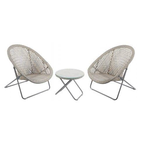 Grey & Buff Faux Rattan Garden Chair & Table Set