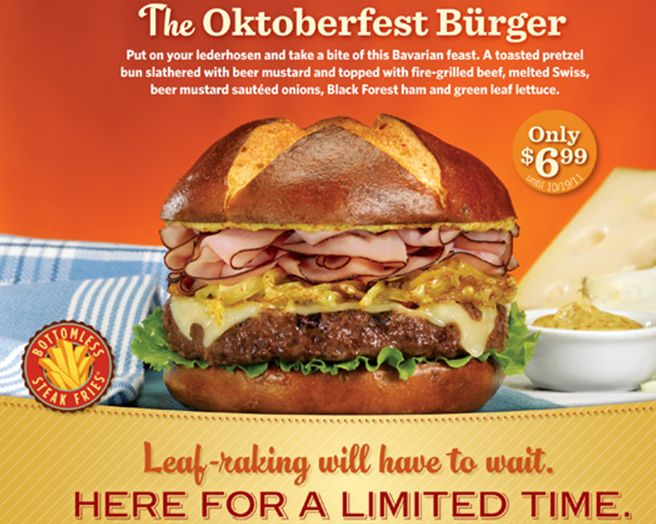 The Oktobertest burger  The Oktobertest burger Put on your lederhosen and take a bite of this Bavarian feast.  Only $6.99 Leaf-raking will limited wait. HERE FOR A LIMITED TIME. http://www.pinterest.com/TakeCoupons/red-robin-coupons/
