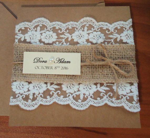 Rustic Lace Homemade Wedding Invitations by BluePandaInvitations
