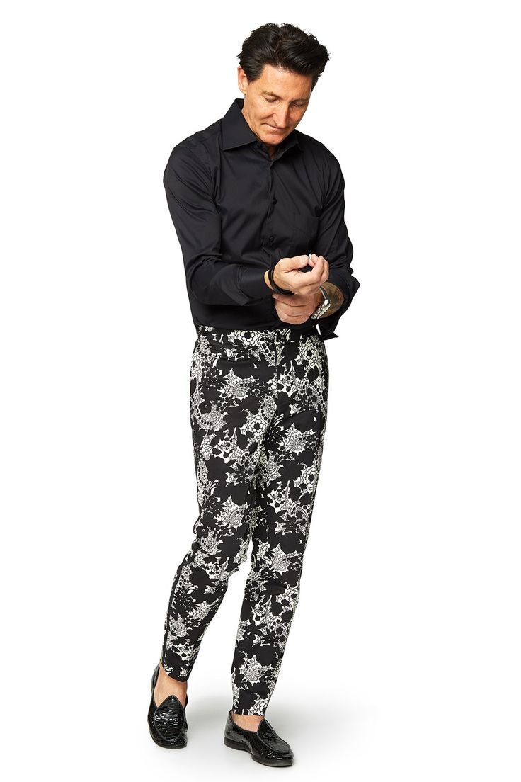 David August Slim Fit Tapered Black & Off-White Paisley Cotton Trouser - Cut-to-Order