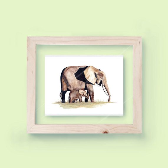 WATERCOLOR ELEPHANTS PRINT - Unframed  -This is a high-quality digital print on…
