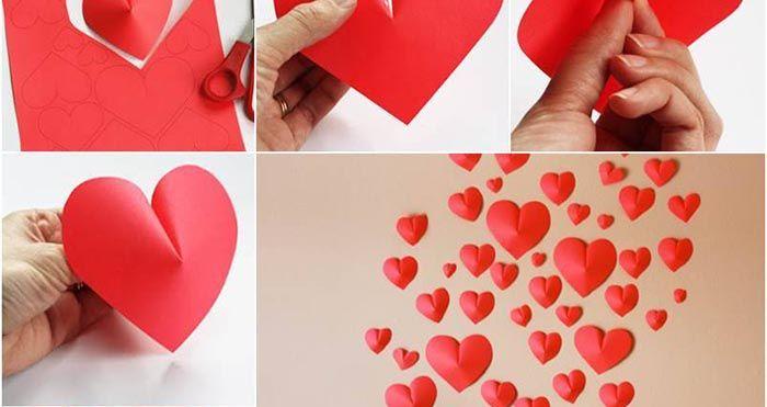 Ozdobte si stenu 3D srdiečkom z papiera. Jednoduché a vhodné na akýkoľvek sviatok aj ako darček.