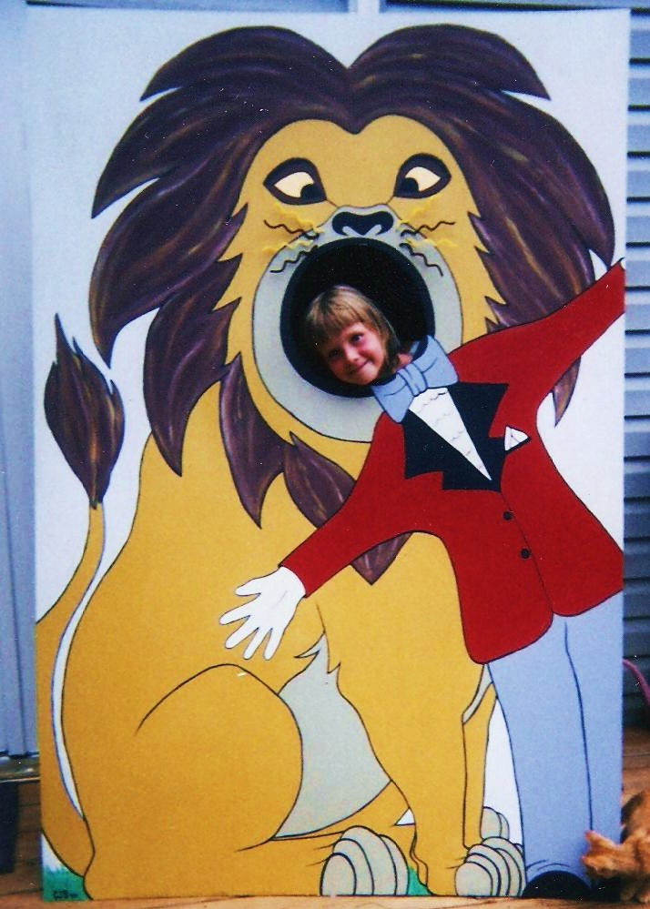 """Lion tamer"" face cut out board-my daughter showing how it's done ;)"