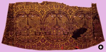 See the griffens, mythical creatures with the head of an eagle on the body of a lion? This fragment from an 11th-century Byzantine robe shows them embroidered on a delicate silk woven of murex-dyed threads. The symbolic power of murex purple reached its apogee in the eastern Roman empire of Byzantium.