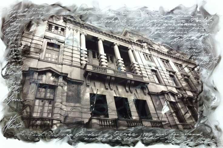 An experiment using a photograph. The Rand Club is much too fiddly to draw from scratch, so this was my solution. The facade emerges from the swirls of paint and, like the building itself, stands firm in the shifting currents of history.