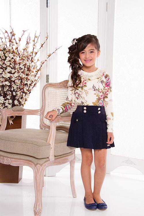 Blusa Floral e Saia c/ Pregas