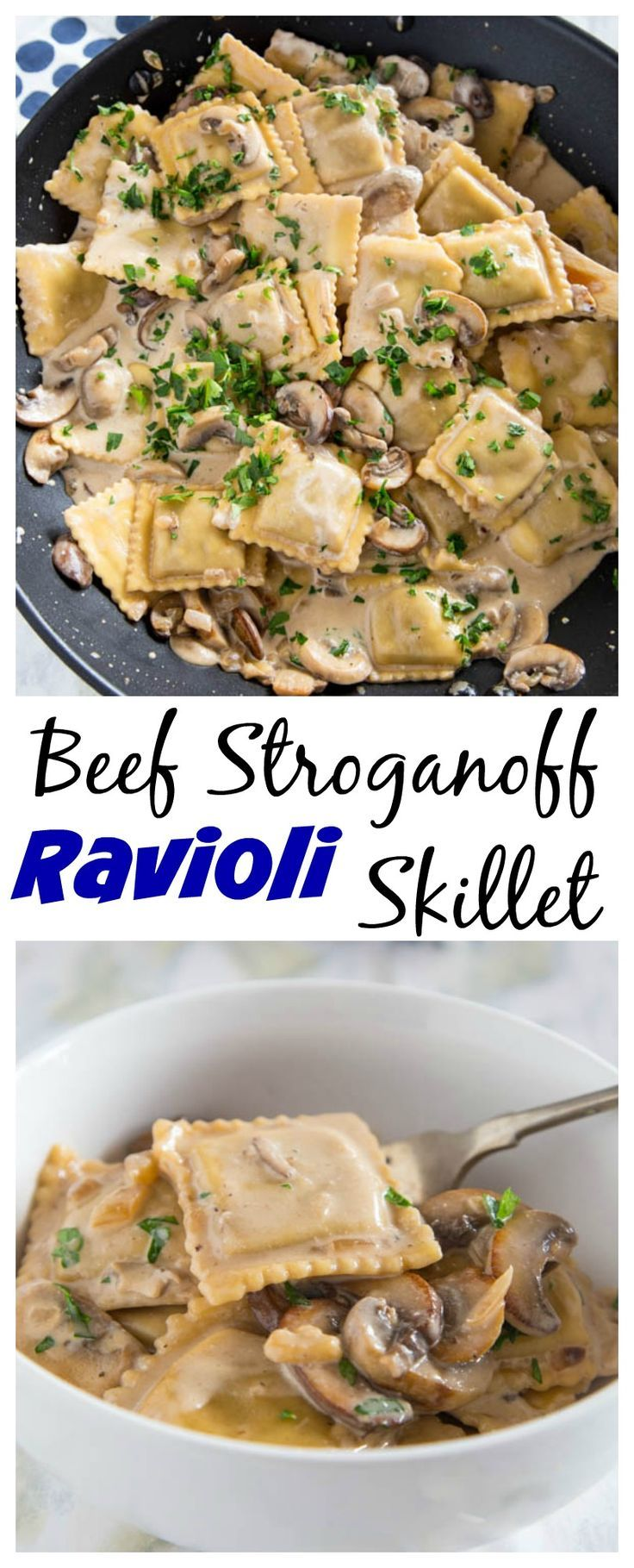This beef stroganoff ravioli skillet is a quick and easy weeknight meal. All you need is one pan and 20 minutes!