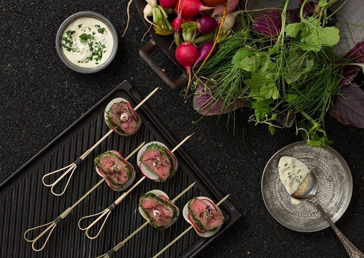 HealthyBYTe Autumn Canapé Collection_ 2014 Herb crusted Hopkins river sirloin, daikon, celeriac, pickled radish & wholegrain aioli - lactose free / gluten free Stying by @Kirsty Bryson I Photography by James Morgan