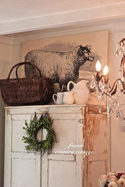 FRENCH COUNTRY COTTAGE: Farmhouse Sheep Artwork. This is her vignette http://frenchcountrycottage.blogspot.com/2012/07/farmhouse-sheep-artwork.html