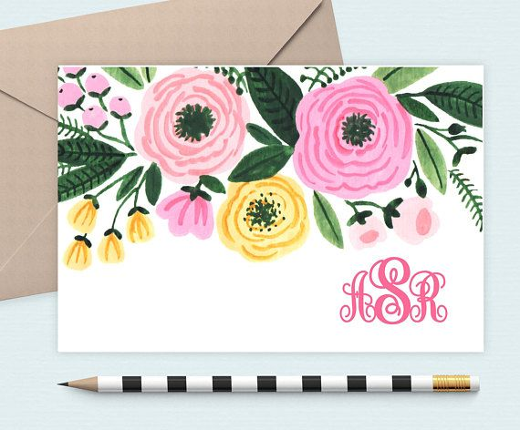 Pink Flower stationery set/floral Note card/Monogram Note