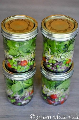 start by adding the the salad toppings to the bottoms of the jar.  Then I usually add a thin layer of broccoli sprouts for added nutrition and to separate the lettuce from any wet ingredients, and then stuff in as much lettuce as I can. Make sure you squeeze lemon juice on apples and pears to keep them from browning, and lemon or lime juice on avocados.
