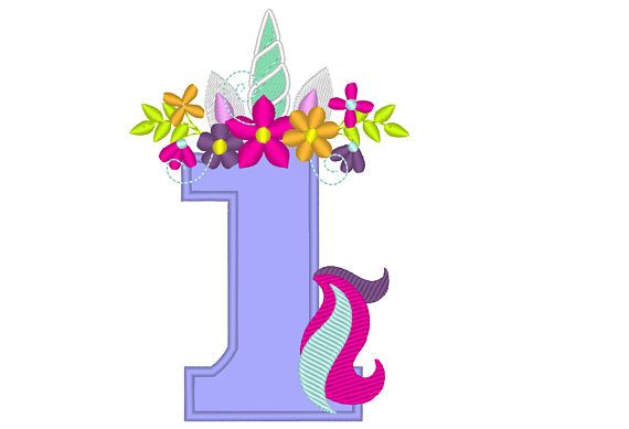 Unicorn number one 1 with flowers crown , Unicorn Tail ...