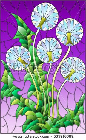 Illustration in stained glass style flower of blowball on a purple background