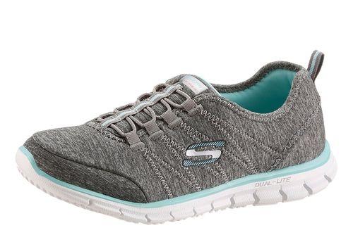 #SKECHERS #Damen #Slipper mit #Memory #Foam #grau - Skechers Slipper aus Textil, Skechers Memory Foam-Dämpfung, Schuhweite: normal (Weite F).