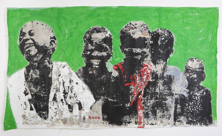 Armand Boua, Untitled, 2016, tar and acrylic on cardboard