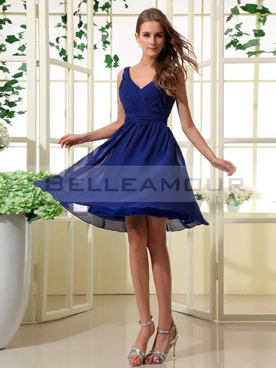 Robe demoiselle d'honneur Courte Bleu Col V Plis Simple