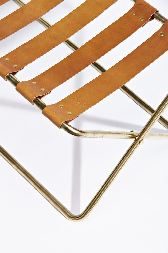 Luggage Rack designed by Evie Group for Commissioned Editions, sold through Criteria Collection. Brass with saddle tan leather straps and brass hardware. Photo by James Tolic, styling Danielle Selig.