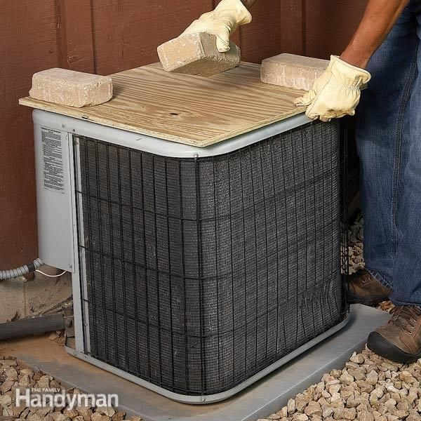 Cover your air conditioner condenser with plywood for the winter. If you wrap it with plastic, it'll rust.