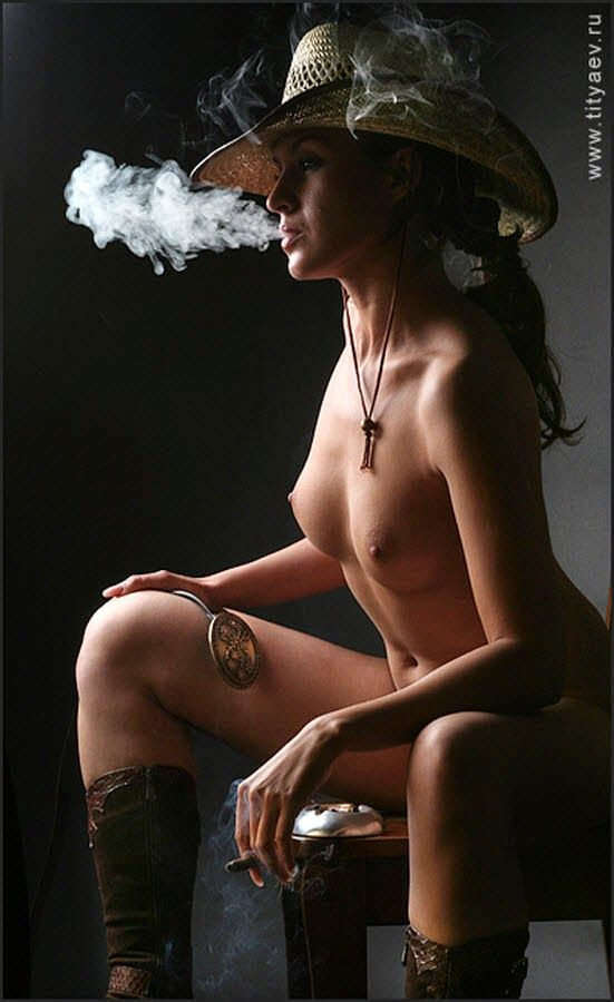 naked girl with cigar