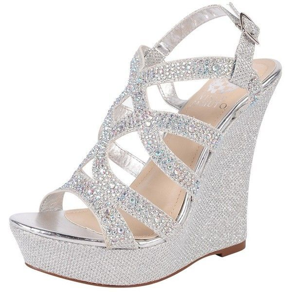 Vince Camuto Nina Wedge ($30) ❤ liked on Polyvore featuring #shoes, #sandals, heels, silver, silver wedge #sandals, silver heel sandals, strappy platform sandals, strap sandals and vince camuto sandals
