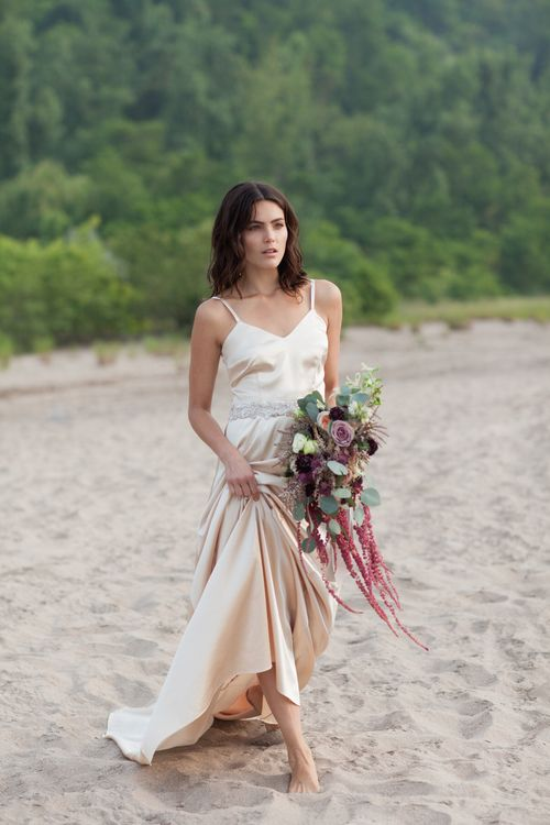 Champagne wedding gown by And For Love
