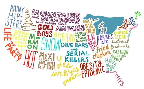 US map of stereotypes