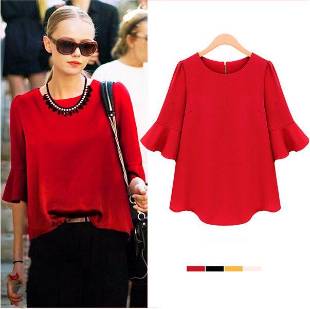 Nueva llegada 2014 mujeres del verano media manga de la blusa dulce flojo de la gasa Tops manga de la llamarada femenino elegante blusas rojas 5 colores