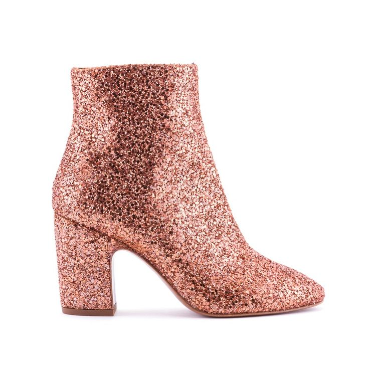 SHOES SQUARE TOE GLITTER ANKLE BOOT GLITTER ORANGE