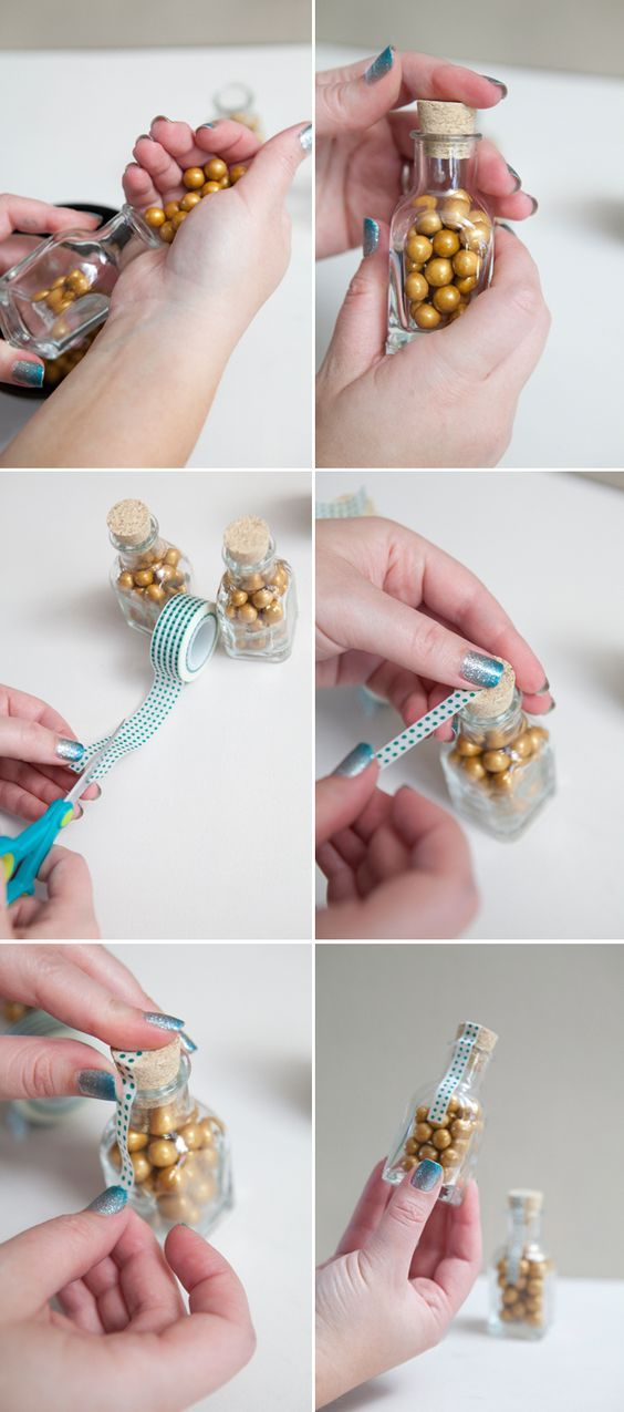 DIY wedding favors ~ glass candy jars with cute washi (paper) tape! Use mini kilner jars?