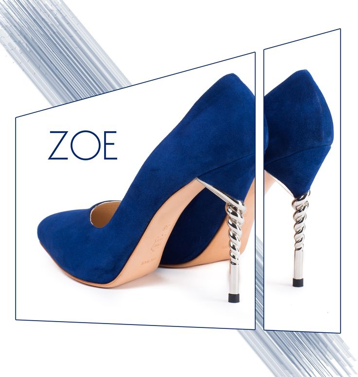 Royal blue Zoe shoes with camoso leather and spiral heels @joyas