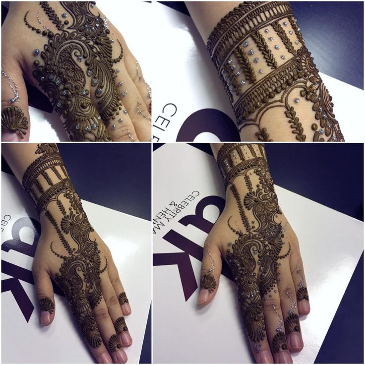 AK henna of three hands and one arm designs.