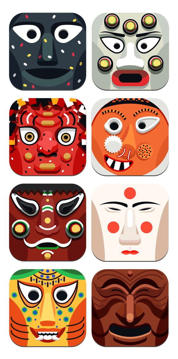 Korean traditional mask icon by Lee Seung Jae, via Behance