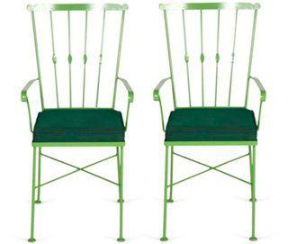 Green Midcentury Metal Chairs, Pair   Outdoor Furniture, Garden Stools