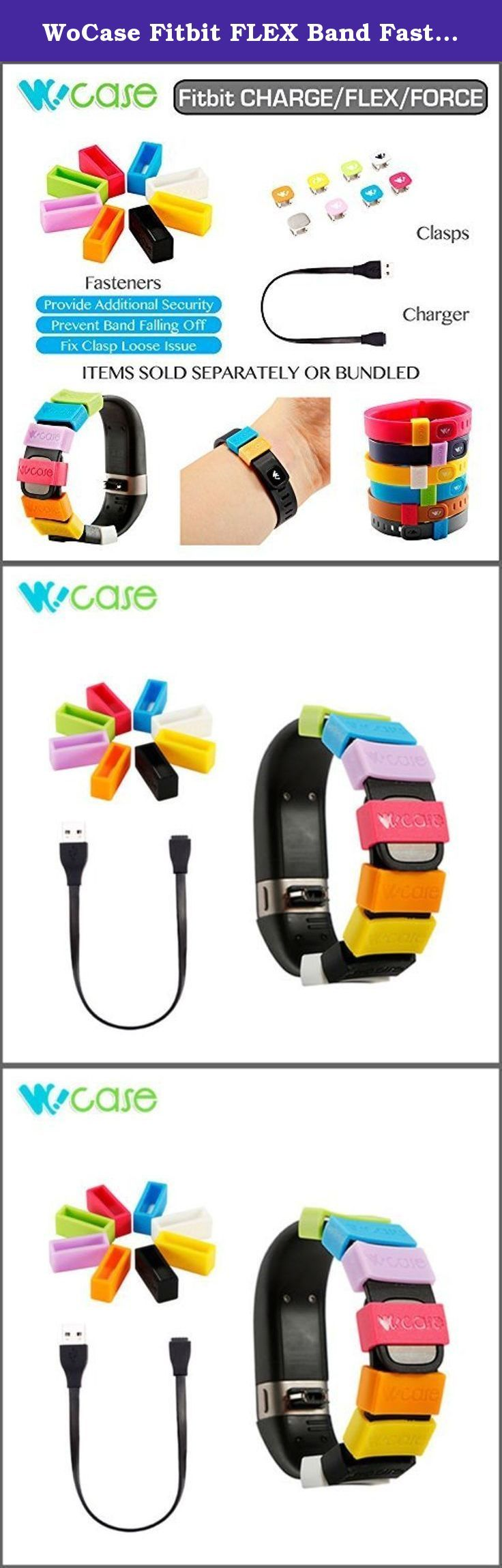 WoCase Fitbit FLEX Band Fastener Holder Set (Skin Friendly/Allergen FREE) and USB Charging Cable Bundle for Fitbit FLEX Activity and Sleep Tracker Band Bracelet (Fix Clasp Falling off, Retail Gift Ready Package). Includes 8 Pcs/Pack O-Ring Silicon Fastener (Skin Friendly/Allergen FREE) and one USB charging cable. Skin Friendly. Allergen FREE. ONLY compatible with Fitbit FLEX activity and sleep tracker. Prevents wristband falling off in active sports. Perfect fit to your FLEX. Personalizes...