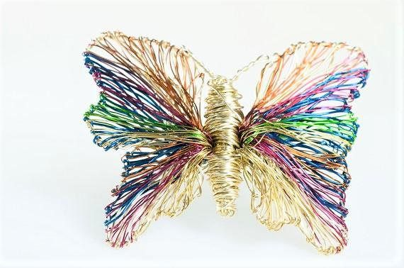 Rainbow butterfly brooch, gold butterfly, art Jewelry, insect, wire jewelry, unique gift for women, cute pin, hippie chic, Christmas gift  Handmade gold, rainbow, butterfly brooch art jewelry, made of colored copper and silver wire. The height of the wire wrapped insect, unique gift for women, is 4cm (1.57in) and the width (body with wings) of the hippie chic, cute pin, Christmas gift, is 5cm (1.97in).The pin of the unusual insect is bronze.