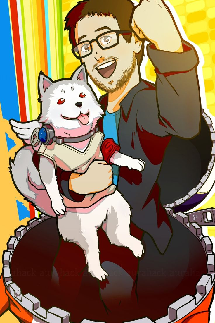 Aha! Is this our chance (to pet puppies)?? Giant Bomb x Persona fanart