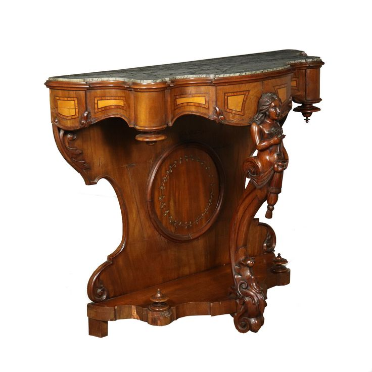 Louis Philippe Console Table Marble Top Italy Mid 1800s
