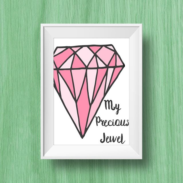 Day 26 My Precious Jewel 8.5x11 Print These can be used for used for Home Decor, Gallery Walls, Wall Art, Kid's Room, DIY Wall Art, Cheap or Inexpensive Gifts, Nursery Wall Art, Nursery Decor, Wall Decor, or Office Decor.