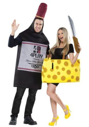 Amazon.com: Wine and Cheese Adult Couples Costume Set: Clothing