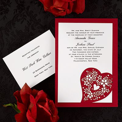 Heart Of Flowers From Carlson Craft   Item Number: WRN9986   A Red Base  Card. Wedding Invitation ...