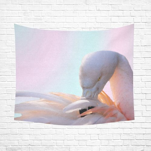 """Flamingo Pink Mint Cotton Linen Wall Tapestry 60""""x 51"""""""