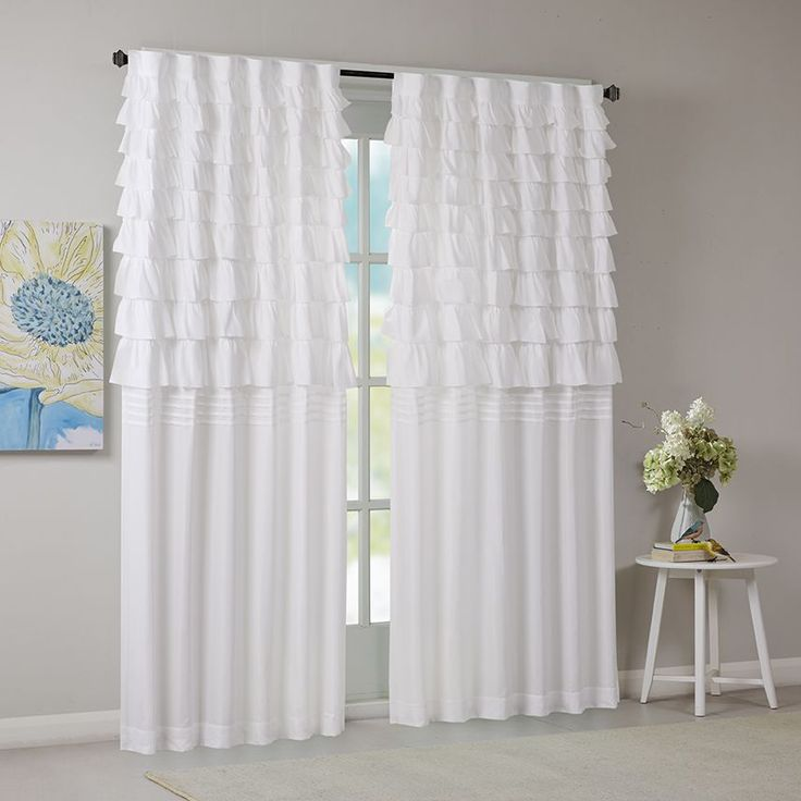 Intelligent design demi white ruched window curtain panel for Rideau court fenetre