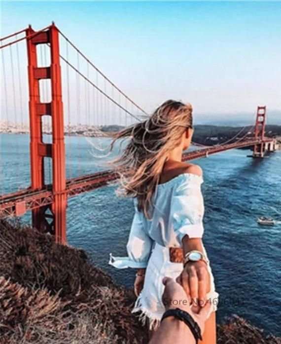 USA Seller. Follow me to the Golden Gate Bridge – Paint by Number Kit. DIY. Fast Shipping