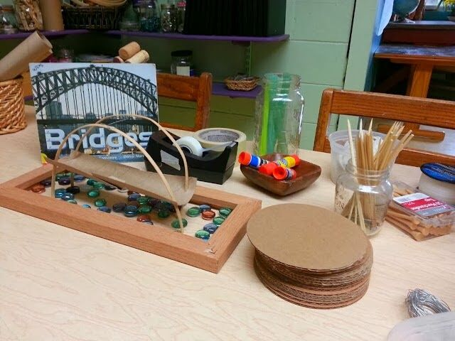 """Building bridges with loose materials - from 'Imagine Learning Center' ("""",)"""
