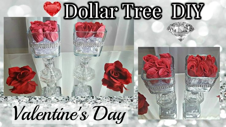 Dollar Tree DIY Valentine's Day 2017 | Glam Floral Rose Candlestick Craft