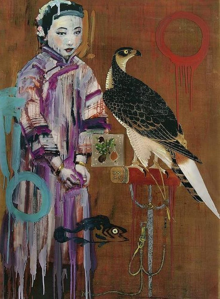 """Falconer I""  by Hung Liu -  a young concubine from the final days of Imperial China beside a leashed falcon on an ornate stand."