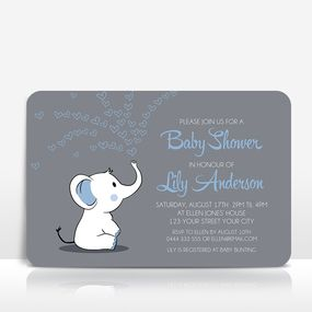 Elephant with blue hearts on grey baby shower invitation