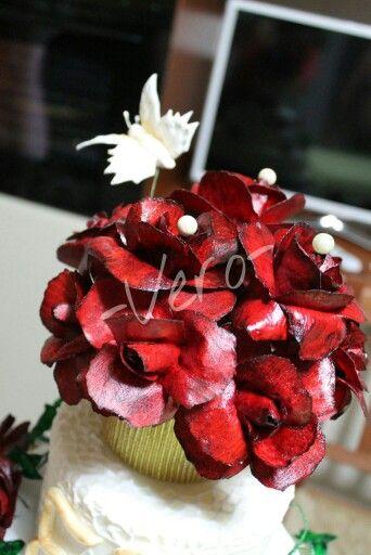 Topper wafer paper rose rosse...